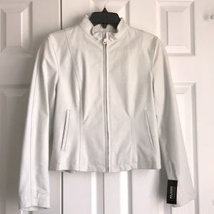 Wilson's White Leather Jacket Adjustable Waist